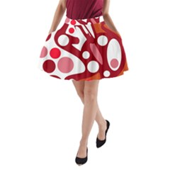 Red and white decor A-Line Pocket Skirt
