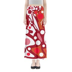 Red and white decor Maxi Skirts