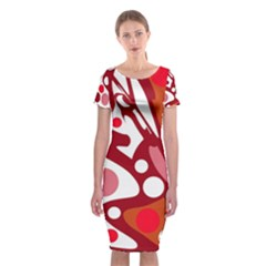 Red And White Decor Classic Short Sleeve Midi Dress