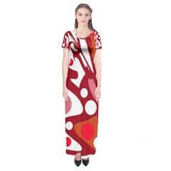 Red and white decor Short Sleeve Maxi Dress