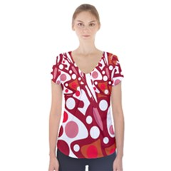 Red and white decor Short Sleeve Front Detail Top