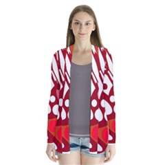 Red and white decor Drape Collar Cardigan