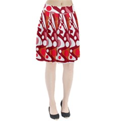 Red and white decor Pleated Skirt