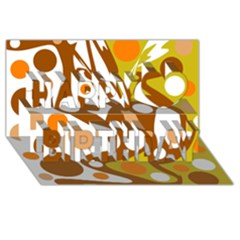 Orange and white decor Happy Birthday 3D Greeting Card (8x4)