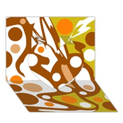 Orange and white decor Heart 3D Greeting Card (7x5)