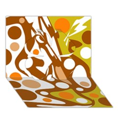 Orange and white decor Clover 3D Greeting Card (7x5)