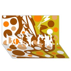Orange and white decor BEST SIS 3D Greeting Card (8x4)