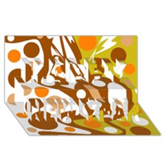 Orange and white decor Happy New Year 3D Greeting Card (8x4)