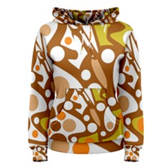 Orange And White Decor Women s Pullover Hoodie