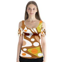 Orange and white decor Butterfly Sleeve Cutout Tee