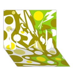 Green and yellow decor I Love You 3D Greeting Card (7x5)