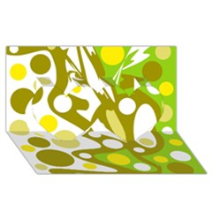 Green and yellow decor Twin Hearts 3D Greeting Card (8x4)