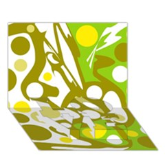 Green and yellow decor LOVE Bottom 3D Greeting Card (7x5)