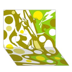 Green and yellow decor Clover 3D Greeting Card (7x5)