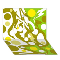 Green and yellow decor Peace Sign 3D Greeting Card (7x5)