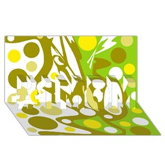 Green and yellow decor #1 MOM 3D Greeting Cards (8x4)
