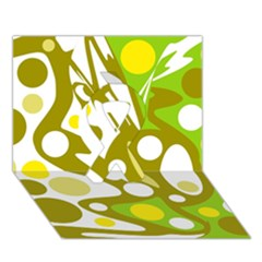 Green and yellow decor Ribbon 3D Greeting Card (7x5)