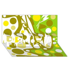 Green and yellow decor BELIEVE 3D Greeting Card (8x4)