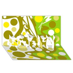 Green and yellow decor SORRY 3D Greeting Card (8x4)