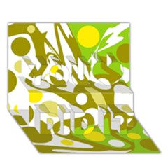 Green and yellow decor You Did It 3D Greeting Card (7x5)
