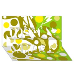 Green and yellow decor Merry Xmas 3D Greeting Card (8x4)