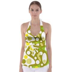 Green And Yellow Decor Babydoll Tankini Top