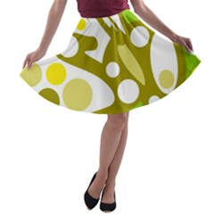 Green and yellow decor A-line Skater Skirt