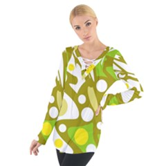 Green And Yellow Decor Women s Tie Up Tee