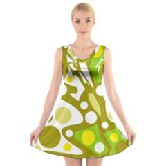 Green and yellow decor V-Neck Sleeveless Skater Dress