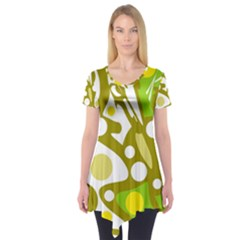 Green And Yellow Decor Short Sleeve Tunic