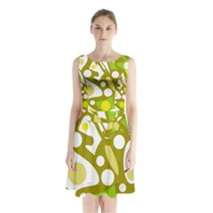 Green and yellow decor Sleeveless Chiffon Waist Tie Dress