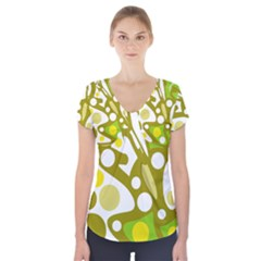 Green And Yellow Decor Short Sleeve Front Detail Top