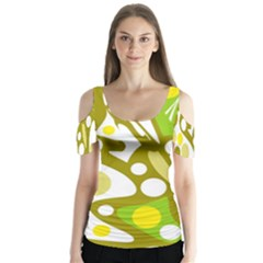 Green And Yellow Decor Butterfly Sleeve Cutout Tee