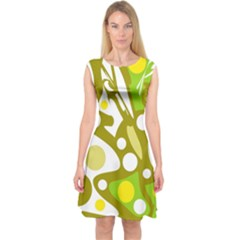 Green And Yellow Decor Capsleeve Midi Dress