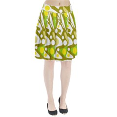 Green And Yellow Decor Pleated Skirt