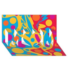 Colorful decor MOM 3D Greeting Card (8x4)