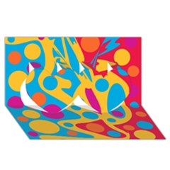 Colorful decor Twin Hearts 3D Greeting Card (8x4)