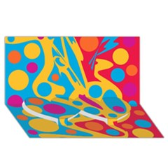 Colorful decor Twin Heart Bottom 3D Greeting Card (8x4)