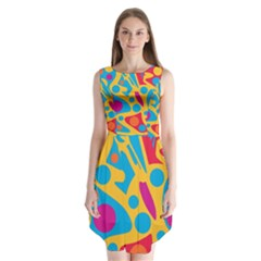 Colorful decor Sleeveless Chiffon Dress