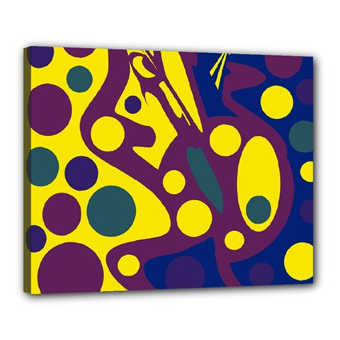 Deep blue and yellow decor Canvas 20  x 16