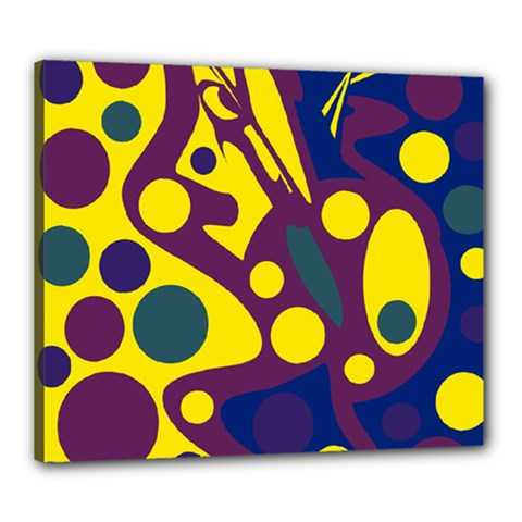 Deep blue and yellow decor Canvas 24  x 20