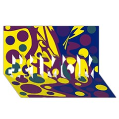 Deep blue and yellow decor #1 MOM 3D Greeting Cards (8x4)