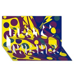 Deep blue and yellow decor Best Wish 3D Greeting Card (8x4)
