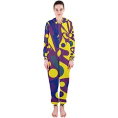 Deep blue and yellow decor Hooded Jumpsuit (Ladies)