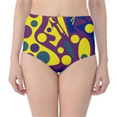 Deep blue and yellow decor High-Waist Bikini Bottoms