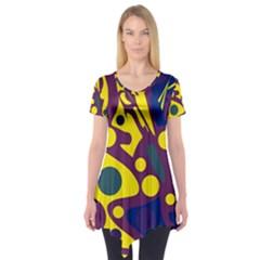 Deep Blue And Yellow Decor Short Sleeve Tunic