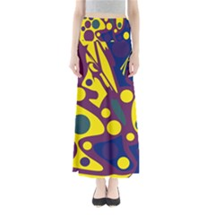 Deep Blue And Yellow Decor Maxi Skirts