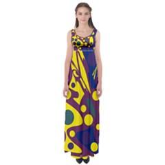 Deep Blue And Yellow Decor Empire Waist Maxi Dress