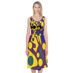 Deep blue and yellow decor Midi Sleeveless Dress