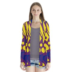 Deep Blue And Yellow Decor Drape Collar Cardigan